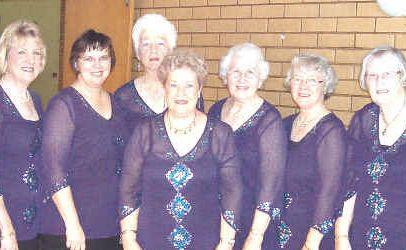 Singing sensations: The Seven Singers (from left): Sue Forward (accompanist), Cynthia Suthers, Desleigh Barber, Eva Smerdon, Barbara Reed, Margaret Gartrell, Helen Bartlett and Elizabeth Reid.