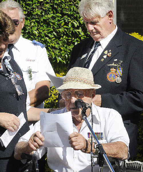 Resident Fred Hyland, reading the poem A Soldier Died Today at a pre-Anzac Day service at Ballina Ex-Services Home.
