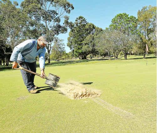 Greenkeeper Danny Van Haren repairing car damage to the third green at Urunga Golf Course.