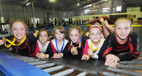 Tumbling for success: Mikaela Cleary, Rhiannon Cox, Dannika-Lee Lyon, Teagan Cleary, Mary-Helen Buchan and Teneal Roache took it to the bigger Brisbane clubs in recent competition.