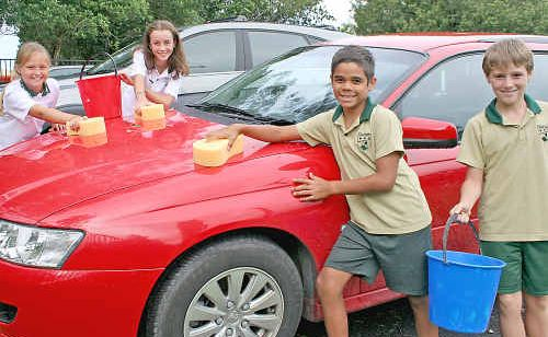 Getting ready for the car wash fundraiser at Lismore Heights Public School this Saturday are (l-r) Year 6 students Ella Veit-Prince and Teshan Joy and Year 5 boys Khalil Hammond and Jy Fisher.