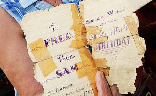Ken and Merilyn Gilmore got a birthday card from Ken's father, Sam Gilmore, sent in 1945 from a Japanese prisoner of war camp to his brother-in-law.