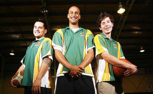 Ipswich Force basketball players Zarryon Fereti, Corey Easley and Ryan Jeffries.