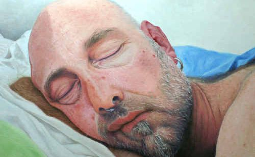 Cassandra Rijs' oil on canvas painting of Dean Greguric, titled 'You look so beautiful when you're sleeping', which won last night's 2010 Northern Rivers Portrait Prize.