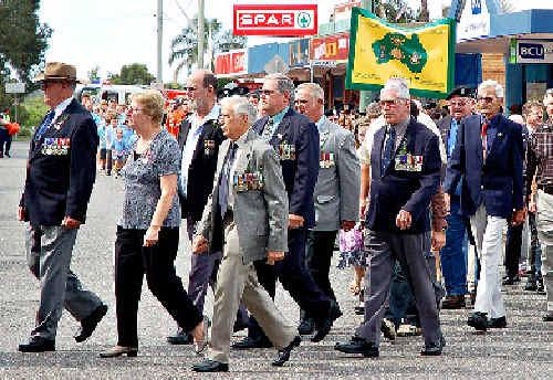 Proud ex-servicemen on parade yesterday in Urunga.