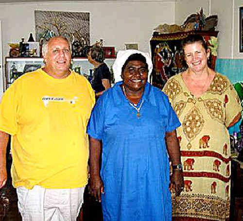 Sister Lorraine Garasu, centre, with Ray and Maxeine Pescud.