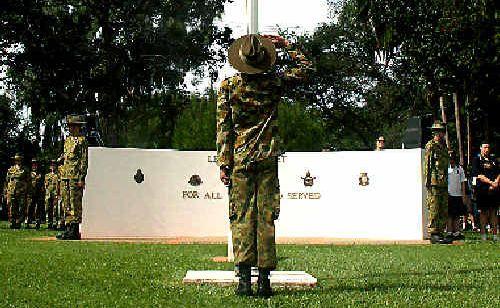 APRIL 26: A soldier salutes during the service at Murwillumbah.