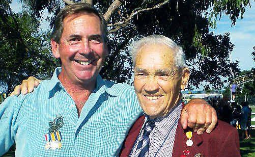 World War II veteran Philip Bonner and son Errol.