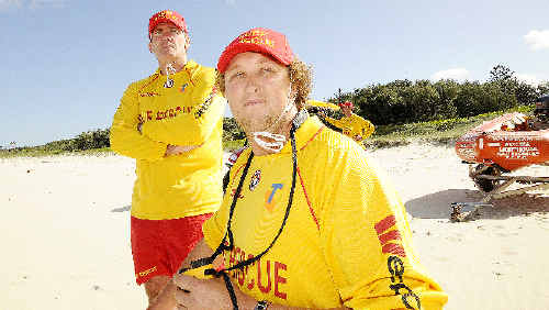 Ballina Lighthouse Surf Lifesaving Club's (from left) president Kris Beavis, lifesaver Will O'Donnell, and (background) captain Andrew Dougherty.