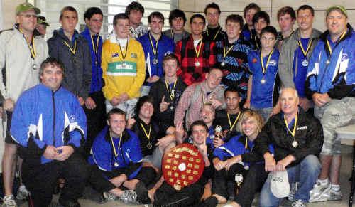 The triumphant Dolphins under-16s.