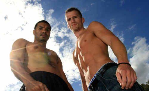Civil foes: American fighter Rubin Williams and Australia's Les Sherrington.