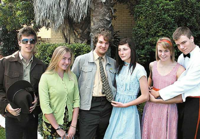 MUSICAL LEADS: Lachlan Mount (Sheriff Earl), Tyla Makin (Sandra), Lindsay Mottershead (Jim), Meg Cross (Sylvia), Katie Connolly (Lorraine) and Joe Robinson (Dean).