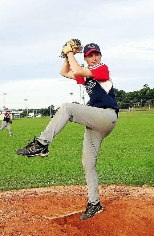 Woolgoolga Bluesox pitcher Michael Crossland.