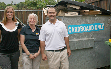 Due to a push from the Whitsunday Charter Boat Industry Association (WCBIA) and the Whitsunday Bareboat Industry (WBI), a recycling program has been introduced at Abel Point Marina. WCBIA Co-ordinator Rachael Bell, WBI representative Suzette Pelt and General Manager Meridien Marinas Abel Point Richard Barrett.