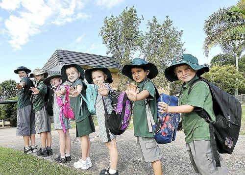 Woolgoolga Public School Walk participants Daniel Ridge, Blake Power, Kirra Henderson-Smith, Alex Rook, Skylea Hunt, Gurtaj Singh and Hamish Cadbury.