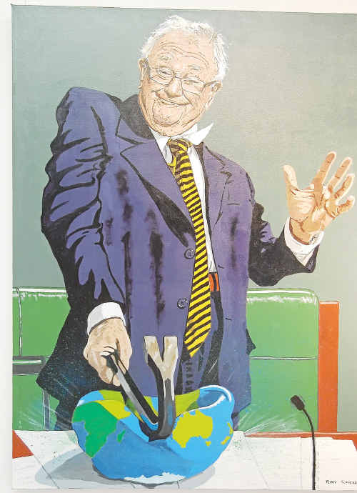 The Uncle Of Parliament, a finalist in the 2010 Bald Archy Prize Exhibition, by Tony Sowersby, depicting politician Wilson 'Iron Bar' Tuckey.