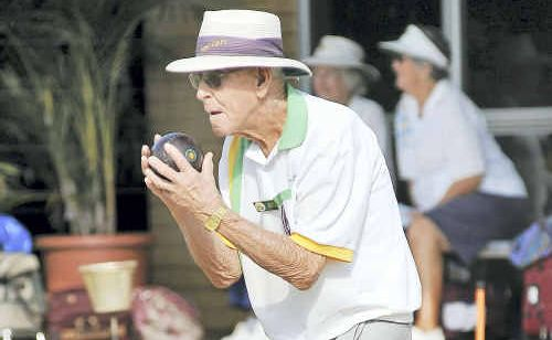 Bert Walters, 97 years old and still a regular bowler at West Coffs Bowls Club.