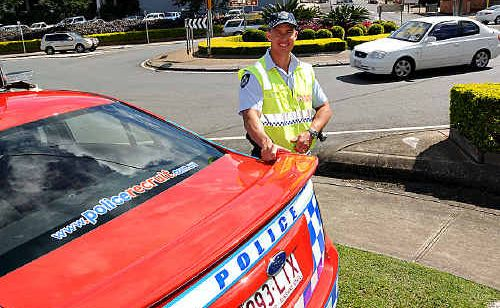 Senior Constable Mark Woitowitz of the Gympie District Traffic Branch at the five-way roundabout that connects Mary, Monkland and Reef streets with River Road.