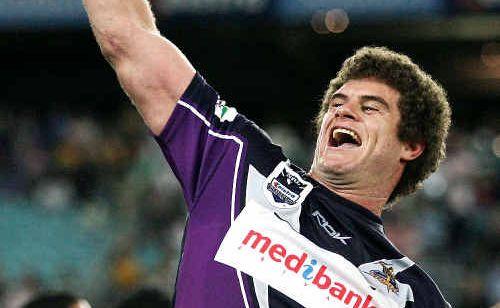 PREMIER MOMENT: Former Casino junior Matt King celebrates after winning the 2007 NRL premiership against Manly.