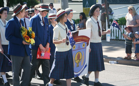 WE REMEMBER: School students march to show their respect for the fallen.