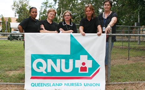 ENOUGH IS ENOUGH: Emerald nurse Mabel Angus, midwife Barb Cook, child health nurses Chris Crook and Cathy Hampton and community health nurse Cathy Timms vow to strike if Queensland Health doesn't rectify the pay fiasco.