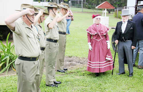 On parade: Andrew and Mrs Fisher (Bill and Barbara Moore) are officially welcomed to the Gympie Gold Mining and Historical Museum for yesterday's Andrew Fisher Day re-enactment.