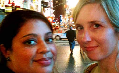 Teresa Morgan (right) of Goonellabah, and Jess Torrens of Redland Bay, are on holiday and are staying in Times Square in New York where they had a close shave with a bomb threat.
