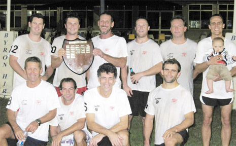 PICTURED after the final are members of the winning Werewolves team with the championship shield.