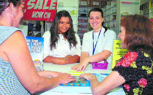 Kadina High School student Cherece Close (second from left) with Connect project officer Cassie Ryan (left), Chemist Warehouse pharmacist Anna Nipperess and Federal Member for Page Janelle Saffin at the Chemist warehouse in Goonellabah.