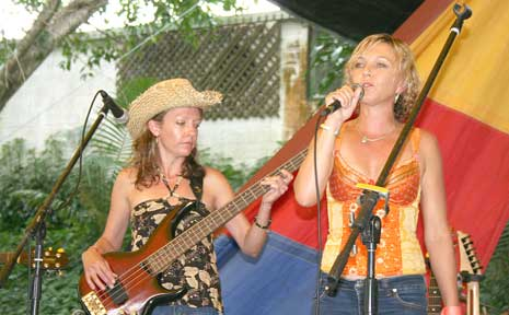 Cactus band members, Lisa O'Dowd and Margie Murphy performing at Wintermoon on Sunday.