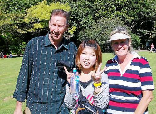 Loving life: Allison and Gunnar Valentine with one of their students Kazue Hidaka.