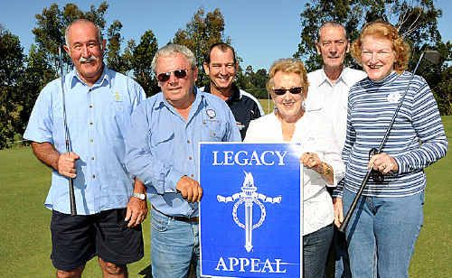 The Gunabul Social Club held a charity golf day to raise funds for Legacy. Above, Ivan Friske (Gympie RSL Sub Branch), Bill Nolan and Brad Richards (Gunabul Par 3 Social Club) together with Joan Ferguson, Ron Cox and Wilma Hattfield from Legacy celebrate the event's success.
