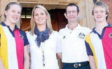ABOVE, Inspirational: Warwick High student Stephanie O'Brien, Olympic medallist Lyndsie Fogarty, Paralympic medallist Chris Scott and student Mark Ferdinand.