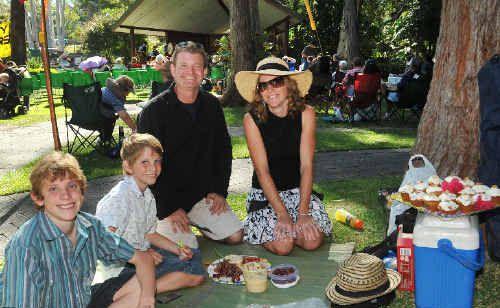 Kyle and Jaidyn McGrorey, Kristy Bridger and Steve McGrorey enjoy a day at the Botanic Garden.