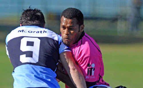 Neori Kuramalawa, Grafton Rhino, takes on Ballina Seagulls' Number 9 Andrew Battese and Number 13 Kane Montgomery at McKittrick Park.