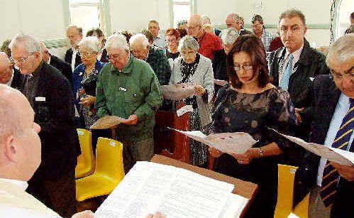 Parishioners at Wyrallah's St Thomas' Anglican Church during Saturday's dedication of memorials.
