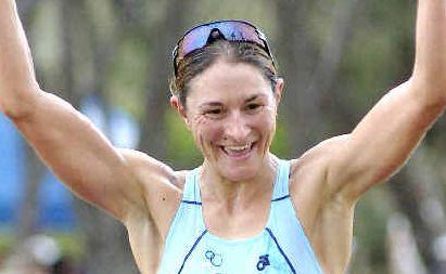 Winner: Lisa Marangon wins the women's pro division at the Byron Bay Triathlon on Saturday.
