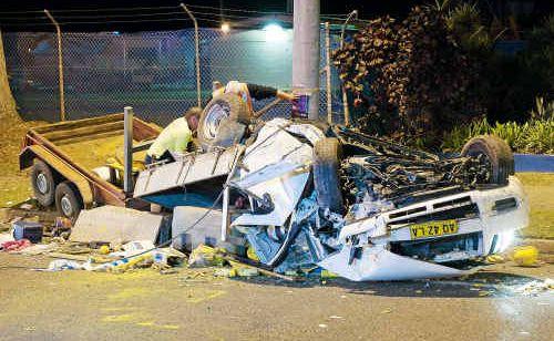 The damaged vehicle.