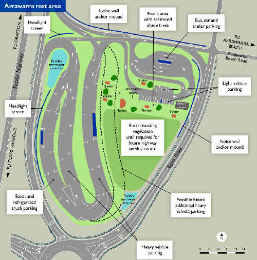 The $4m rest stop at Arrawarra will have a large rest area for heavy vehicles as well as bus and car parks, picnic areas and toilets.