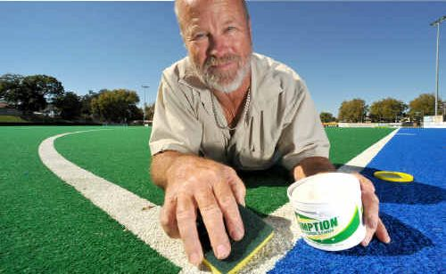 Les Falla maintains the Grafton hockey fields he has made home for 26 years.