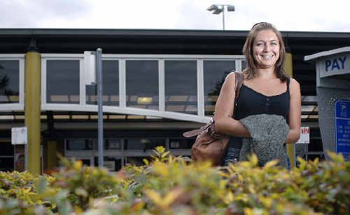 Carbon-friendly: Erin Clugston, of Lennox Head, at the Ballina - Byron airport supports the carbon offset fee when she purchases airline tickets.