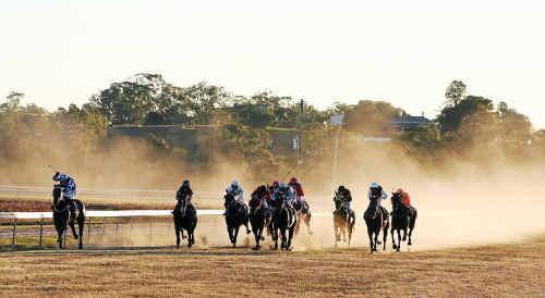 Jockeys and horses race towards the finish at last year's Warwick Picnic Races.