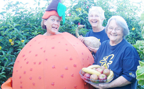 PICTURED getting into the 'Healthy Hints' theme of this year's Biggest Morning Tea are (left to right) Susan Tsicalas, Lindy McCollum and Fae Sproule.