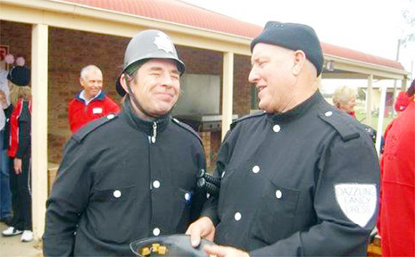 Bruce Maxwell (right) with John Paul Young in their Keystone Cops outfits.