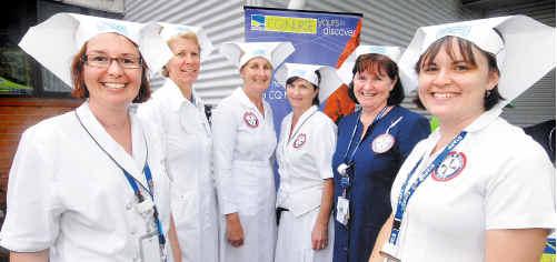Mackay Base Hospital nurses Kim West, Gail Dodt, Louella Bethel, Jenny Richards, Judy Sander and Kristy Johnson mark International Nurses Day.