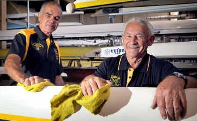 Pulling together: Grafton Rowing Club stalwarts Greg Thompson and Ken Maughan getting ready for the Masters this week.