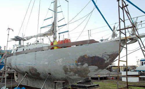 Salem II at the Harwood Slipway after its occupant Dragan Vasiljkovic was taken away by Australian Federal Police.