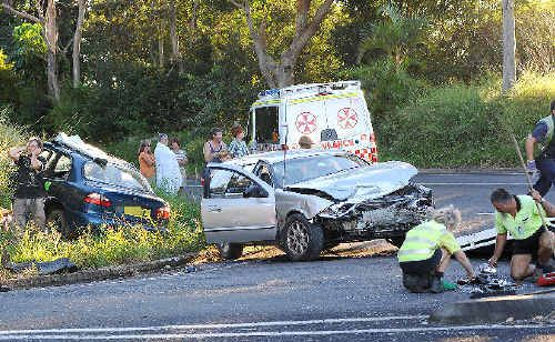 The two-vehicle accident scene at the intersection of Fernleigh Road and Friday Hut Road, Newrybar.