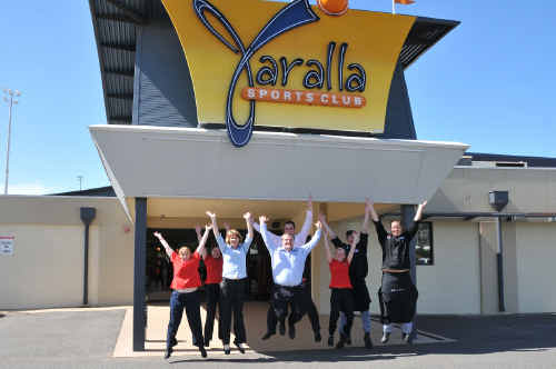 YARALLA TONIGHT: Jumping for joy and agreeing Yaralla Sports Club is the place to be are (from left) Caz Jackson, Sandra Dare, Marisa Kent, Morgan Ford, manager Will Schroeder, Dannii Dorman, Chris Cox and Ryan Newman. Picture: JEN TYBELL. awar210410-3
