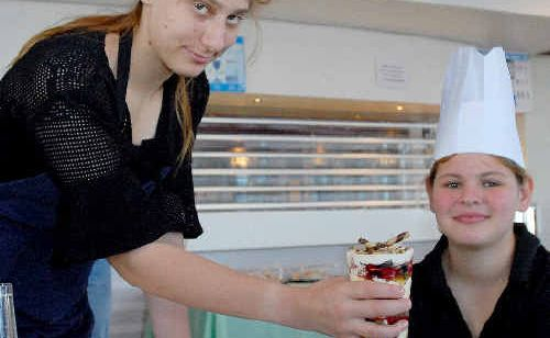 Telina Lambert and Emma Szepanowski of Sarina State High School at the annual Young Chefs Competition.
